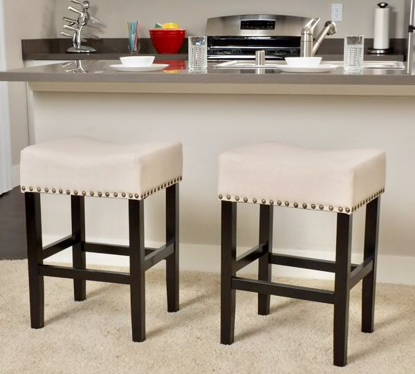 26 Inch Counter Stools Set Of 2 Linen Beaded Retail 244