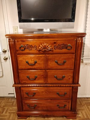 "Nice big wooden chest dresser with big drawers in very good condition, all drawers sliding smoothly, pet free smoke free. L38""*W18""*H52"" for Sale in Annandale, VA"