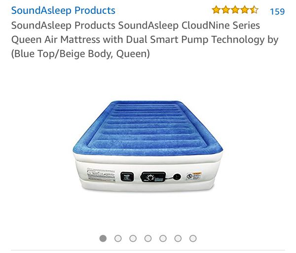 SoundAsleep Products SoundAsleep CloudNine Series Queen Air Mattress with Dual Smart Pump Technology Blue Top//Beige Body, Queen