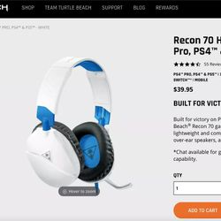 Turtle Beach Recon 70 White Gaming Headset (Wired) Thumbnail