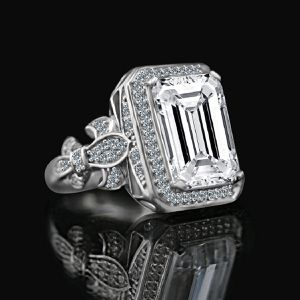 12 CT. Emerald Cut important vintage micro pave halo Vintage Sterling Silver Cocktail/engagement/wedding ring, simulated diamond for Sale in San Diego, CA