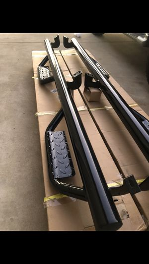 Photo Toyota Tundra Ram chevy Silverado GMC Sierra Toyota Tacoma Nissan Frontier Titan running boards nerf bars side steps estribos the price include fast
