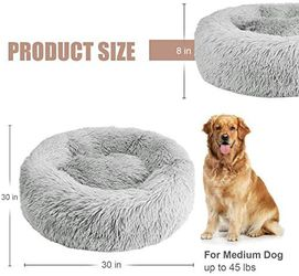 "NEW 30"" Calming Donut Pet Bed (Light Grey) Thumbnail"