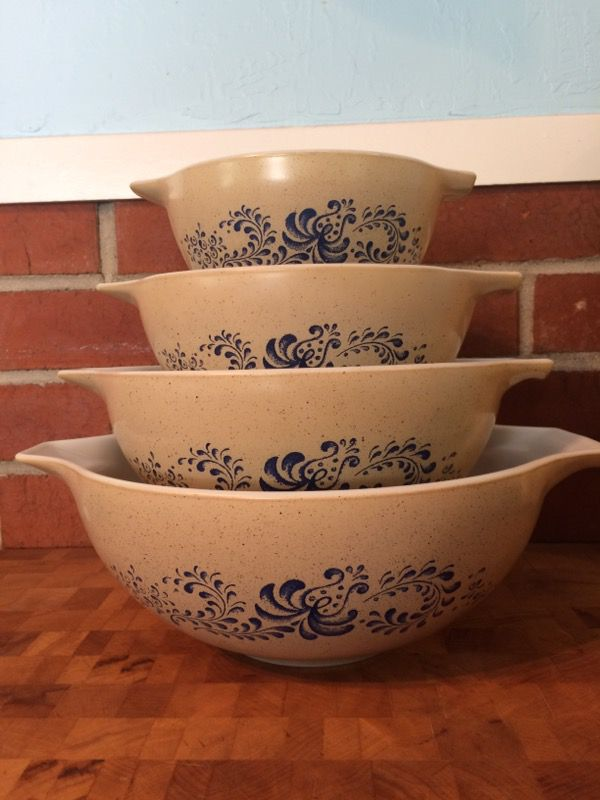 Vintage Pyrex Homestead Pattern Cinderella Mixing Bowls for Sale in ...