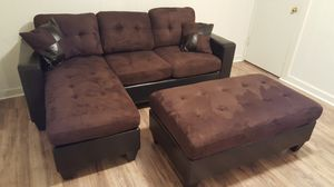 Brand New Brown Microfiber Sectional Sofa Couch + Ottoman for Sale in Silver Spring, MD