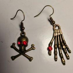 Skeleton earrings hand skull rhinestone bat spider gothic Thumbnail