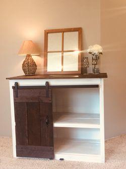 Rustic barn wood w/sliding barn wood door entertainment center/vanity/dresser/extra storage Thumbnail