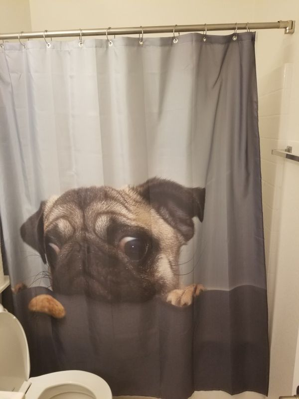 Pug Shower Curtain Las Vegas