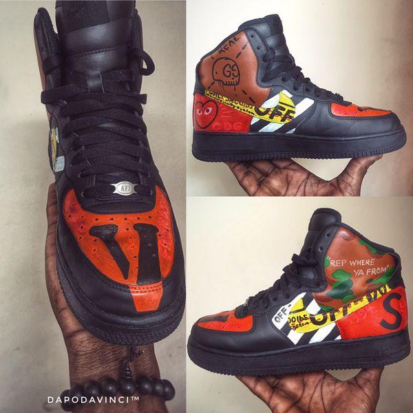 c9438ad3db2b3 Custom Sneakers Nike Air Force 1 Vlone Supreme Bape Gucci Off White CDG  Kaws Yeezy boost 350 v2 750 Jordan foamposite ultra boost nmd