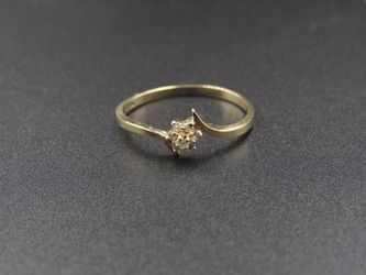 Size 5.75 10K Gold Yellow Flower Diamond Band Ring Vintage Estate Wedding Engagement Anniversary Gift Idea Beautiful Elegant Unique Cute Thumbnail