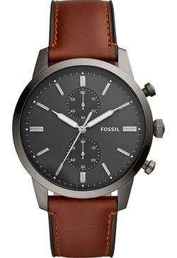 Fossil Men Townsman Stainless Steel and Leather Casual Quartz Watch Thumbnail