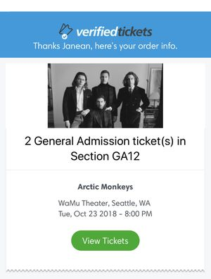 Arctic Monkeys 2 general admission tickets Sold Out for Sale in Bellevue, WA