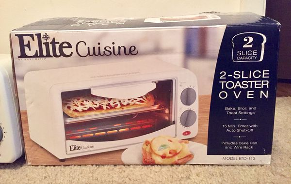 Elite Cuisine Maxi Matic 2 Slice Toaster Oven With 15 Minute Timer White Appliances In Indianapolis IN