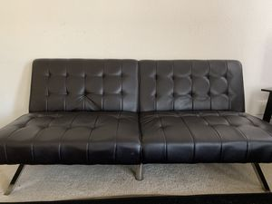 Dark brown faux leather sofa cum bed for Sale in Herndon, VA