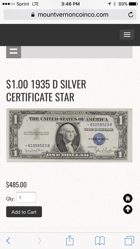 1935 D series Silver Certificate Star dollar bill collectible for ...