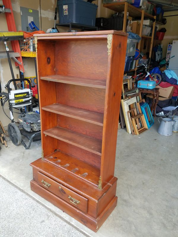 Antique Real Wood Bookshelf With Drawer Furniture In Puyallup WA