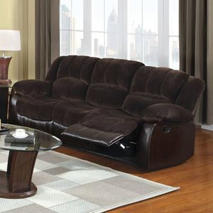 Sofa Recliners Plush Cushions Champion & Leatherette Brown for Sale in Los Angeles, CA
