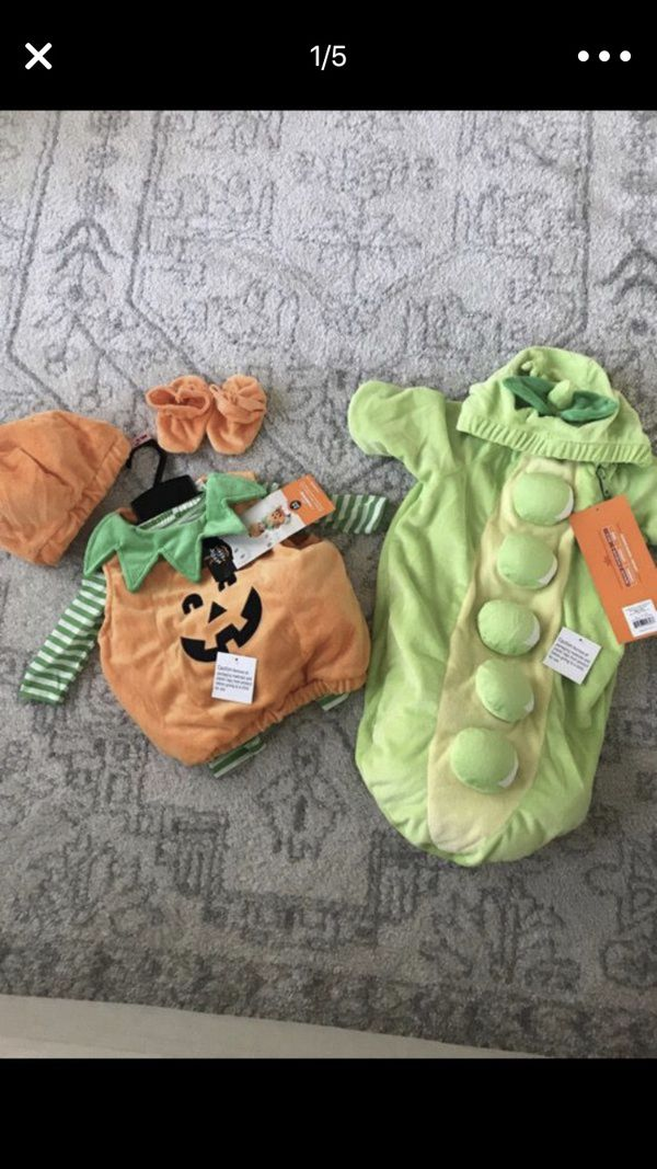 2 baby fall halloween costumes pumpkin pea pod suit booties hat 0 6 months clothes for sale in spokane wa offerup