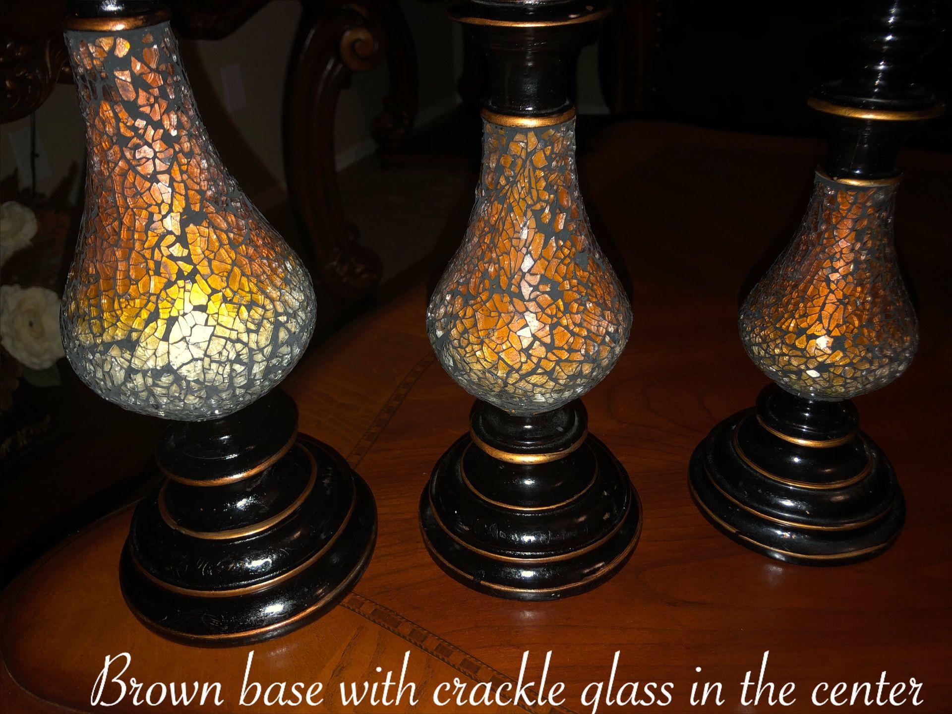 Beautiful 3 matching candleholders $50 firm