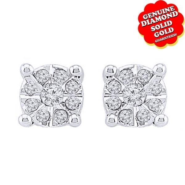 1/5 Ct Natural Diamond 14k White Gold Feel-Good Studs Earrings