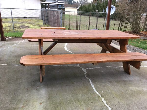 Enjoyable Beautiful Solid Wood Picnic Table With Hidden Cooler Inside For Sale In Tacoma Wa Offerup Ibusinesslaw Wood Chair Design Ideas Ibusinesslaworg