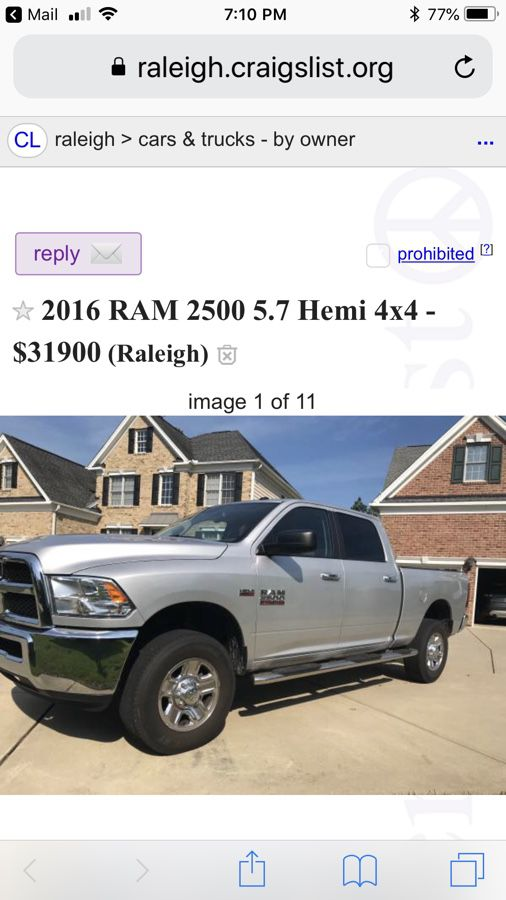 2016 Dodge Ram 2500 5 7 Hemi 4x4 31 900 For Sale In Raleigh