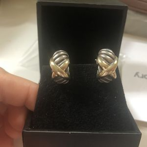 DAVID YURMAN Omega Back 'X' 14k Yellow Gold Cable Style Earrings for Sale in Washington, DC