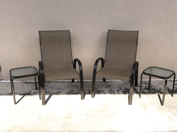 outdoor patio chairs and side tables brown metal indoor outdoor