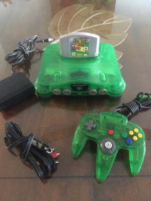 Photo Green clear Nintendo 64 w super Mario game 1 original Control and Cables