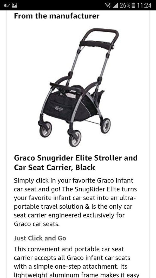 BRAND NEW Graco Snugrider Elite Stroller And Car Seat Carrier For