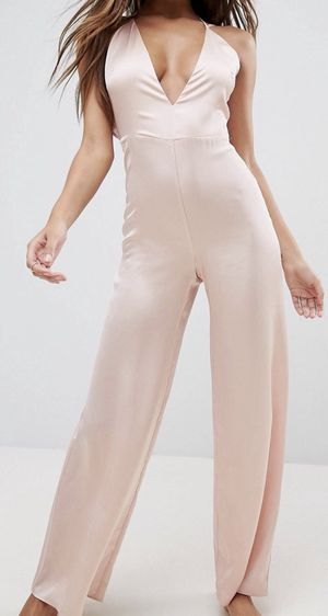 ASOS Plunge Satin Sleepwear Jumpsuit- Blush for Sale in Atlanta, GA