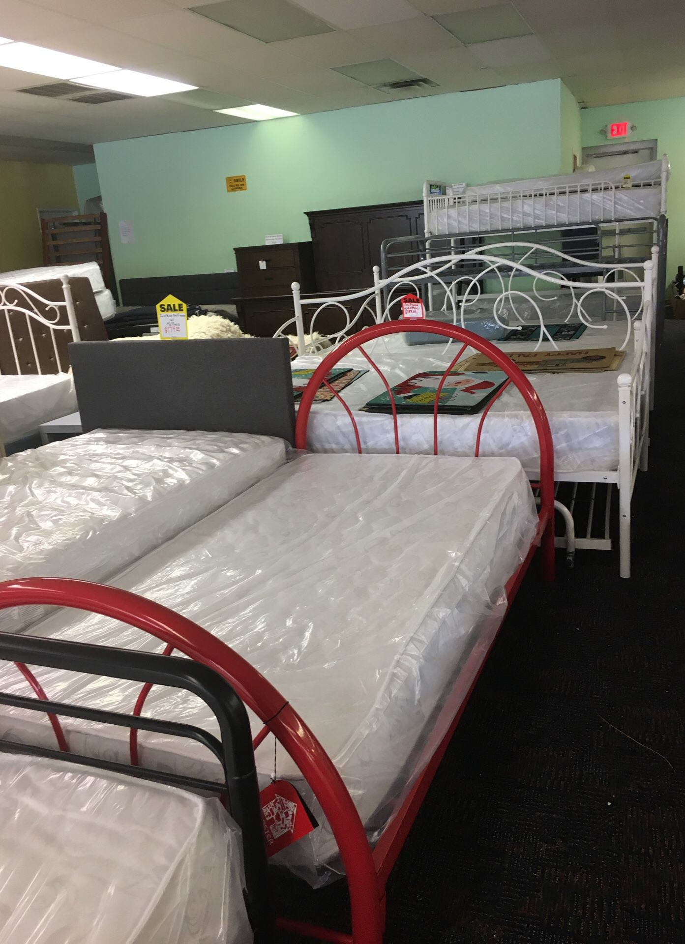 Brand new twin size bed frame with mattress firm price