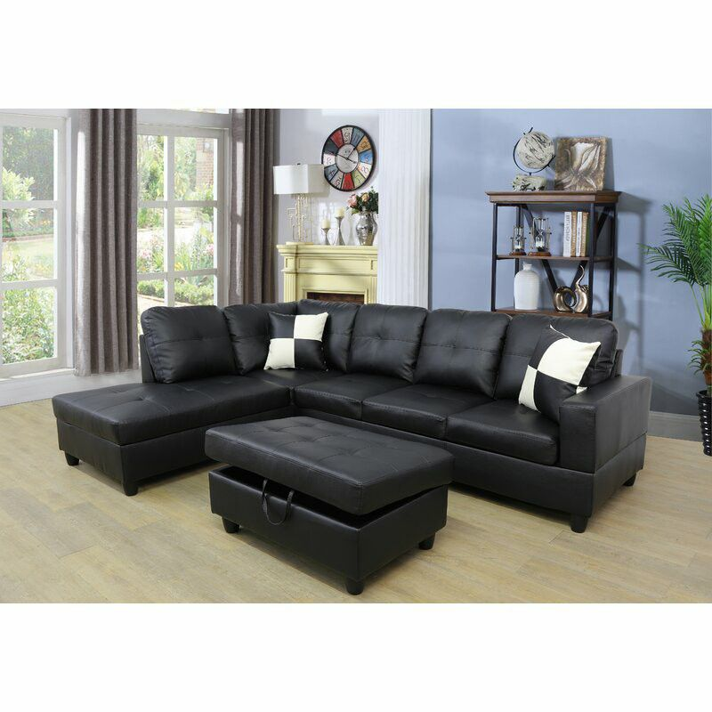 """Russ 103.5"""" Faux Leather Sofa & Chaise with Ottoman"""