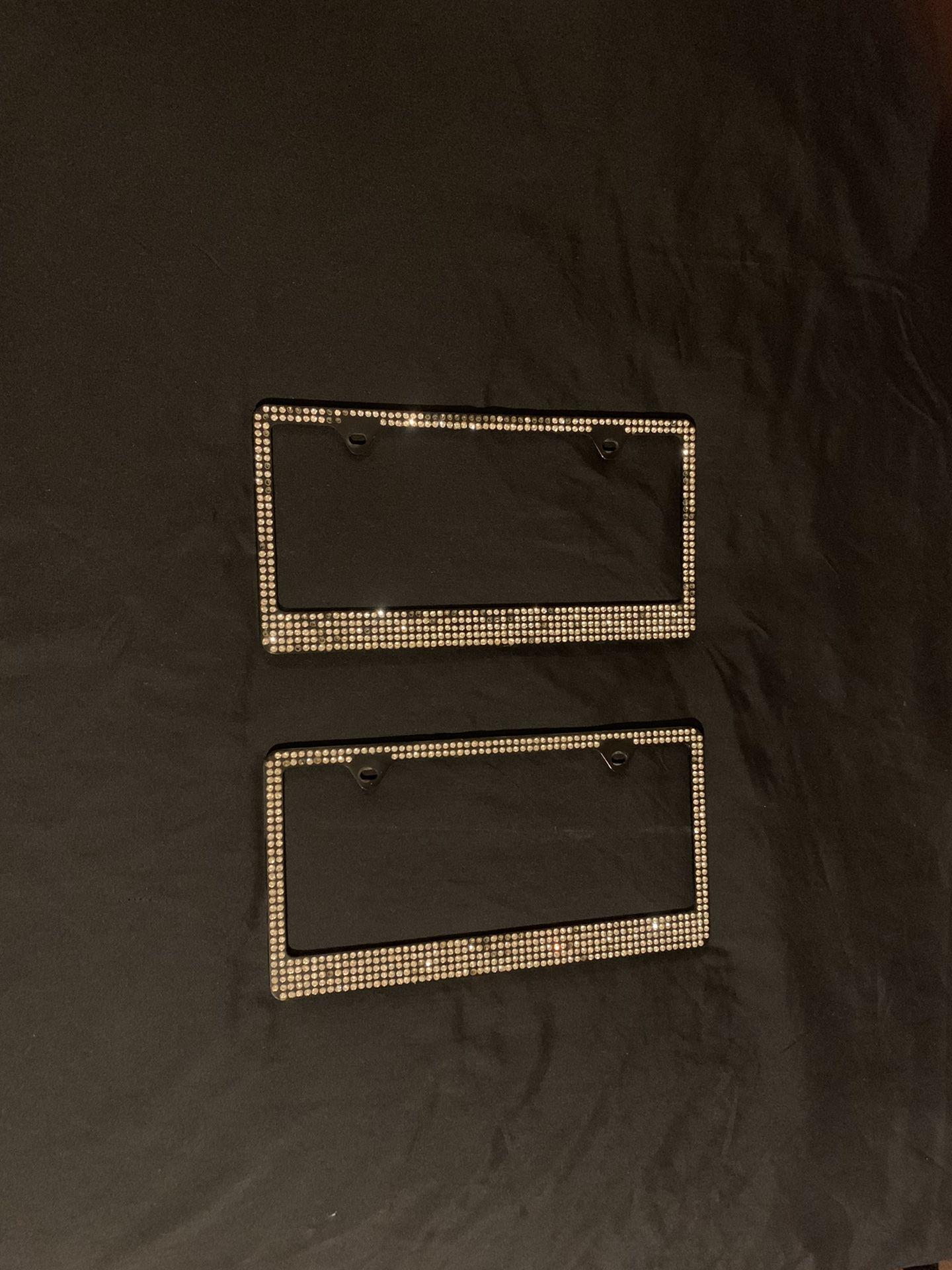 Black Metal Diamond License Plates