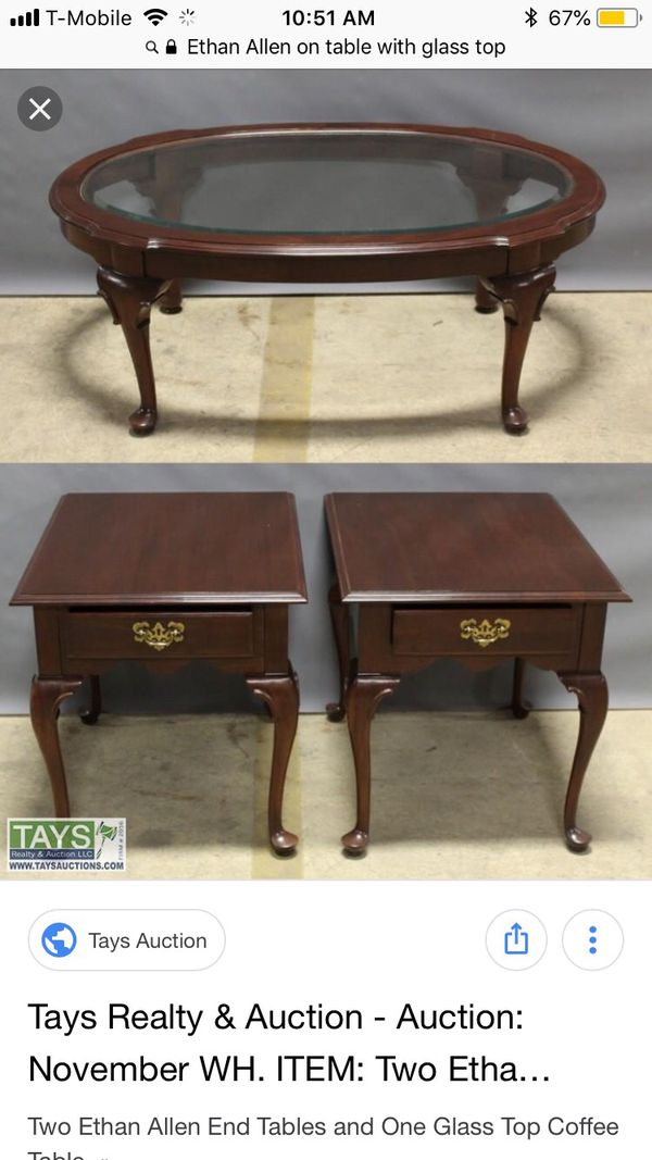 Ethan Allen Mahogany Oval Coffee Table With Gl Top Queen Ann Legs
