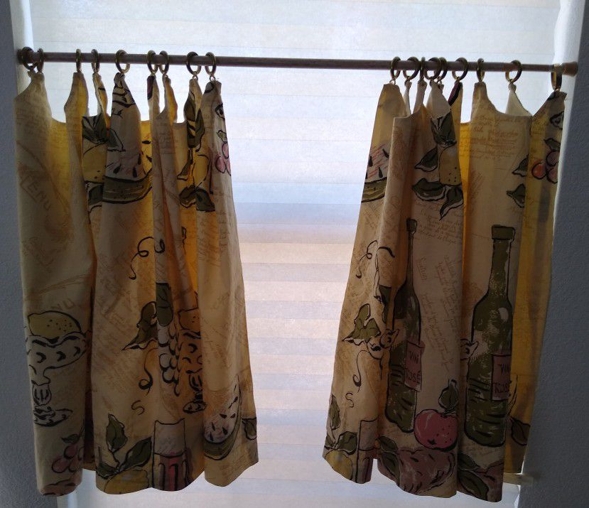 Vintage Mid Century Modern Lined Kitchen Cafe Curtains And Valance - IN EXCELLENT CONDITION