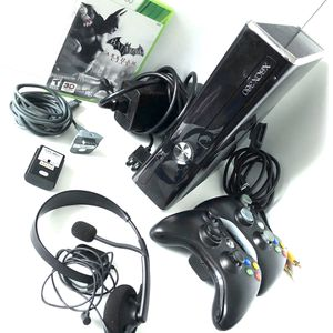 Photo Xbox 360 S Console Black System Bundle Controllers Game Mic TESTED Slim 1439 Lot