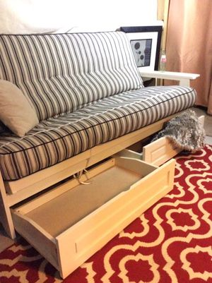 White Wooden Futon With Hidden Extras For In Peabody Ma