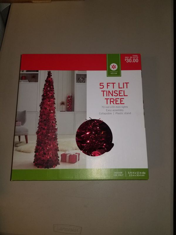 5 Ft Red Led Tinsel Tree