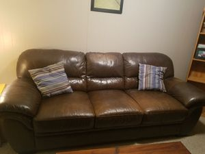 Brown leather sofa. Very solid. Got a newer sofa. Will be available for pickup next weekend. Serious inquires only please! for Sale in Staunton, VA