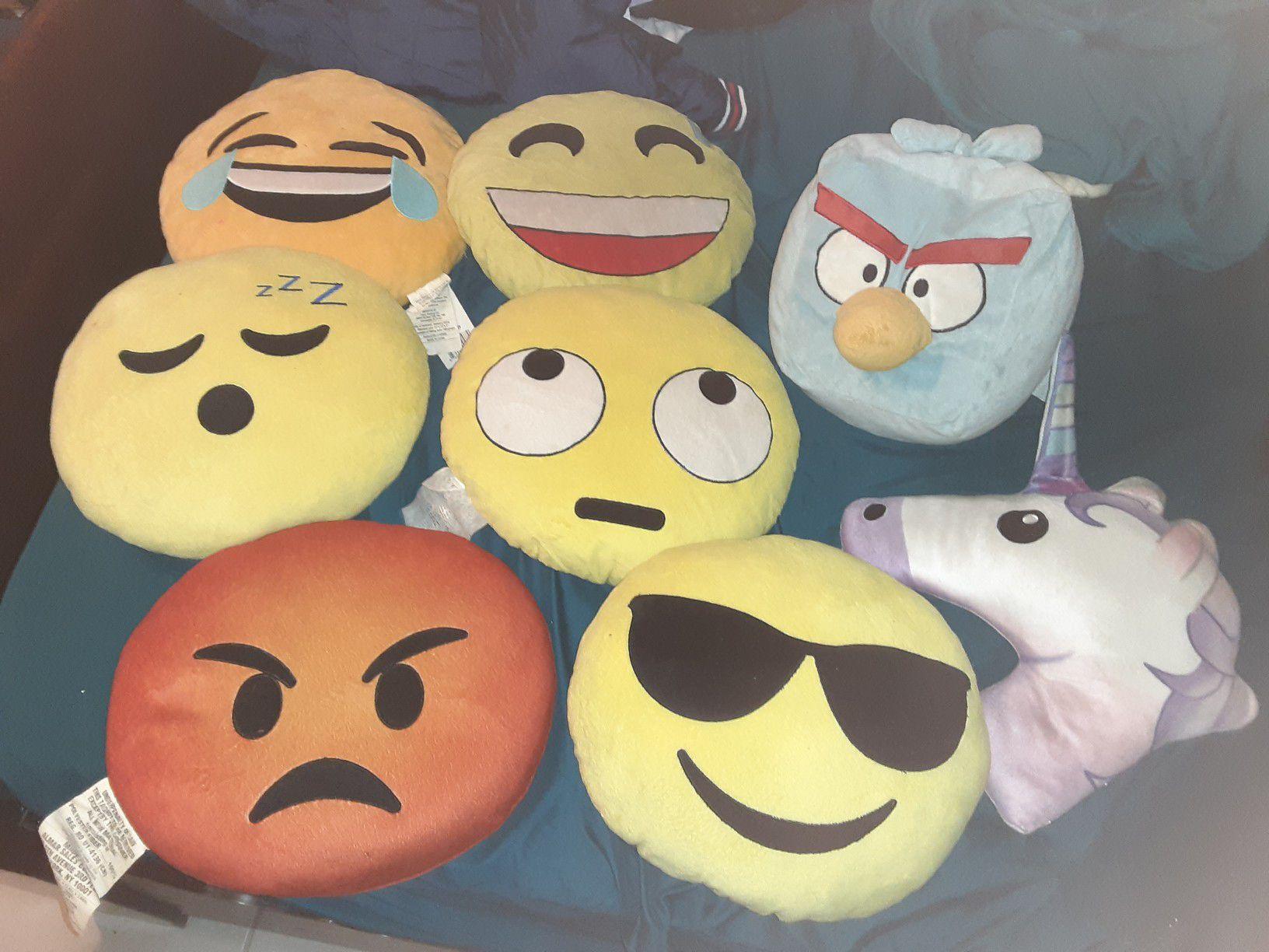 Emoji pillow and angry bird pillow