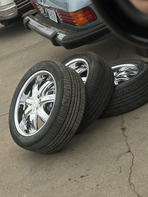 Chrome 17 inch wheels and tires $1000 obo for Sale in Alexandria, VA