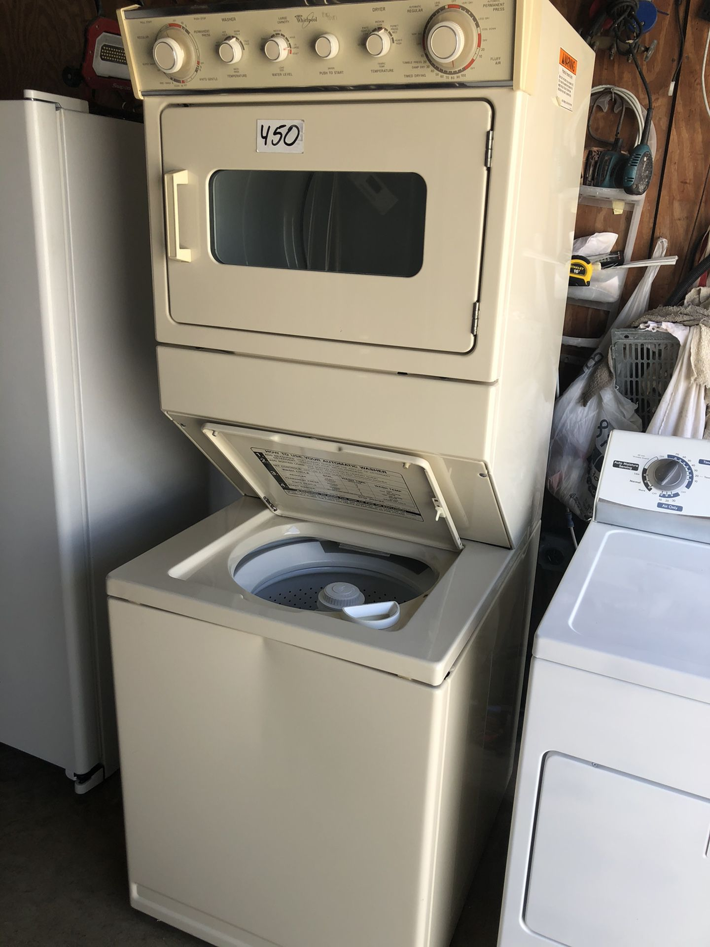"""Whirlpool stackable washer and dryer 27"""" wide in perfect condition and 6 months warranty. We have delivery service available"""