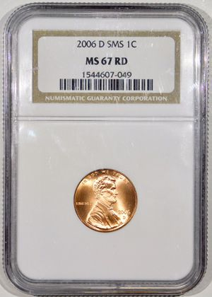 Photo 2006-D SMS Lincoln Cent NGC MS-67 RED