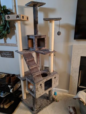 Cat tower tall grey toy tree for Sale in Herndon, VA