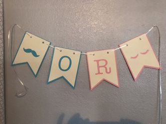 Gender reveal theme staches or lashes banner Thumbnail