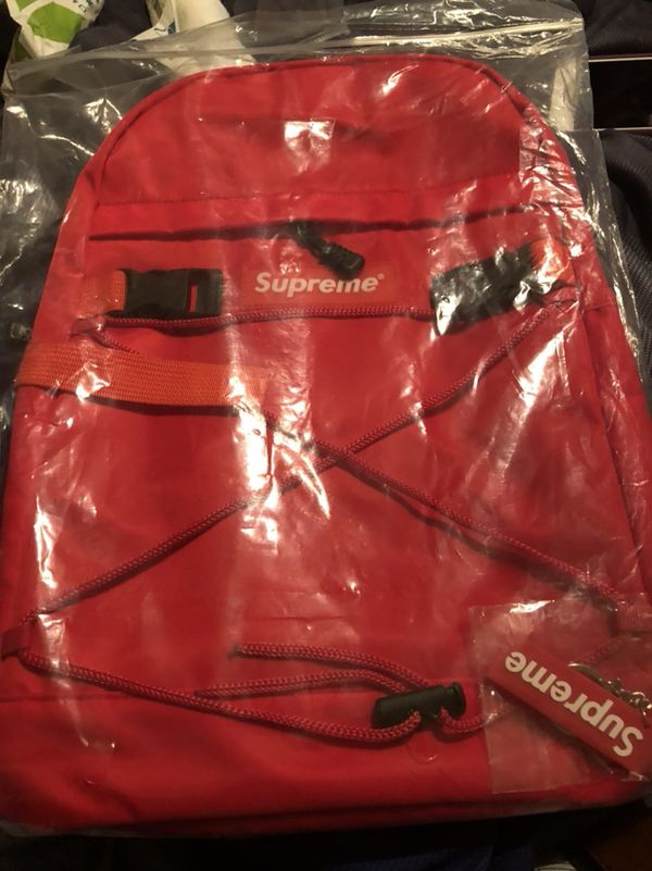 Red Supreme Backpack With Key Chain