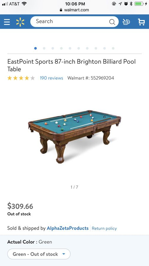 EastPoint Sports Inch Brighton Billiard Pool Table For Sale In - 7 inch pool table