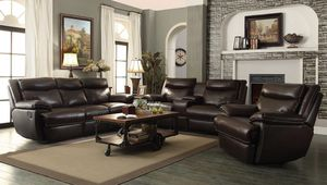 New Macpherson 3 Pc brown leather Reclining Living Room Set (Sofa Loveseat Chair) for Sale in Miami, FL