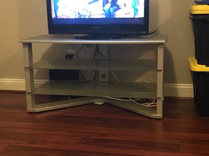 Silver TV table metal and glass for Sale in Lynchburg, VA